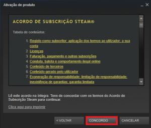 Steam - Confirmar termos da ativação do produto