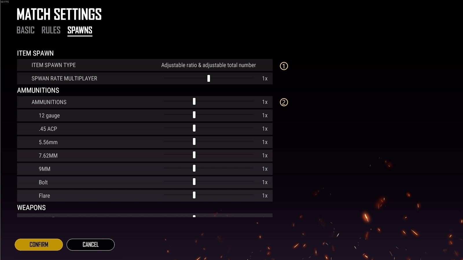 Interface de configuração de spawn no custom mode