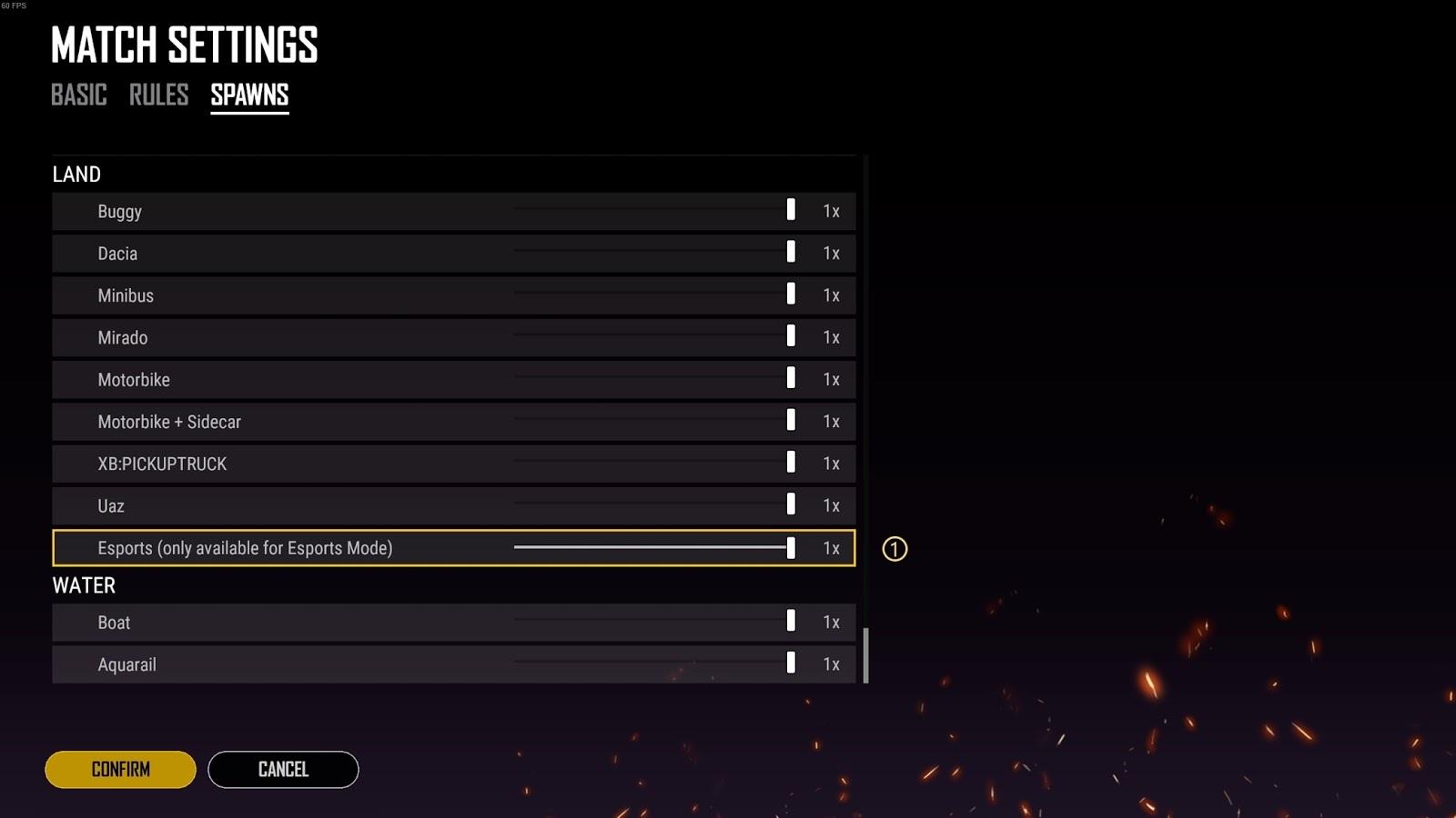 Interface de configuração das regras do esporte mode no custom match