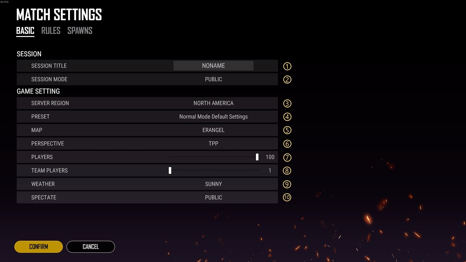 interface das configurações básicas do custom matsh