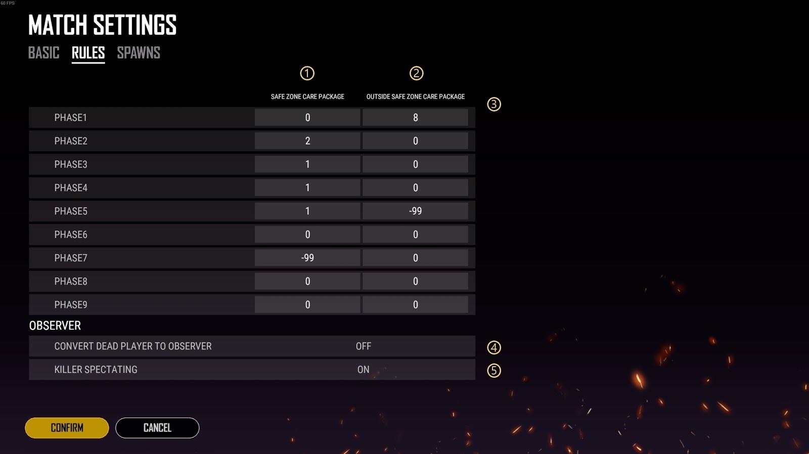 Interface da configuração das regras do custom match