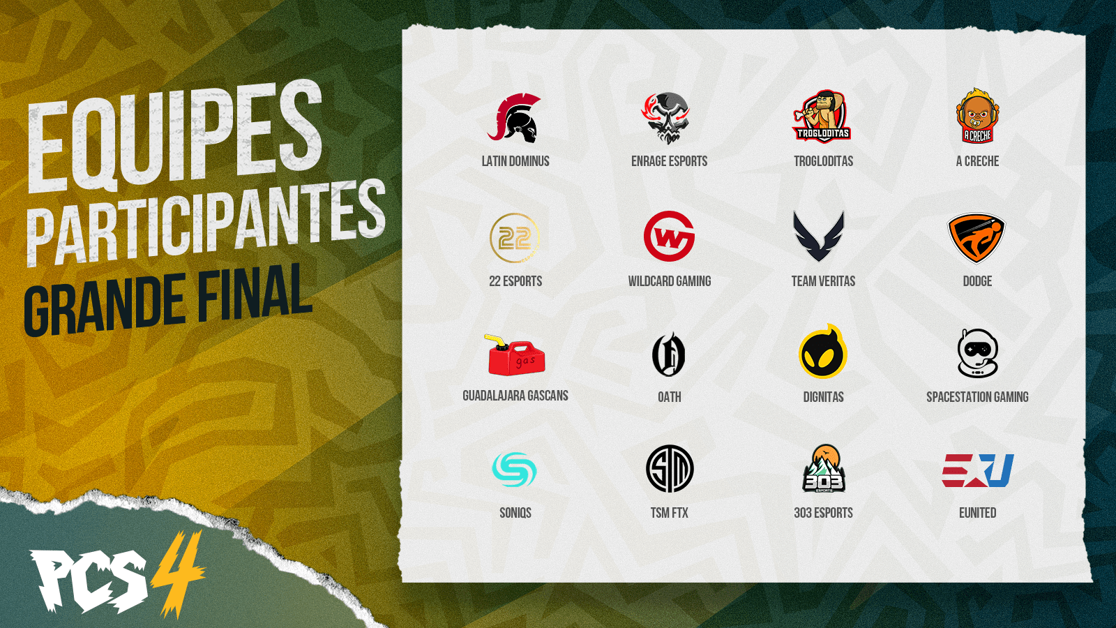 Lista das 16 equipes participantes, com nome e logotipo, da Grande Final da PCS4 Américas