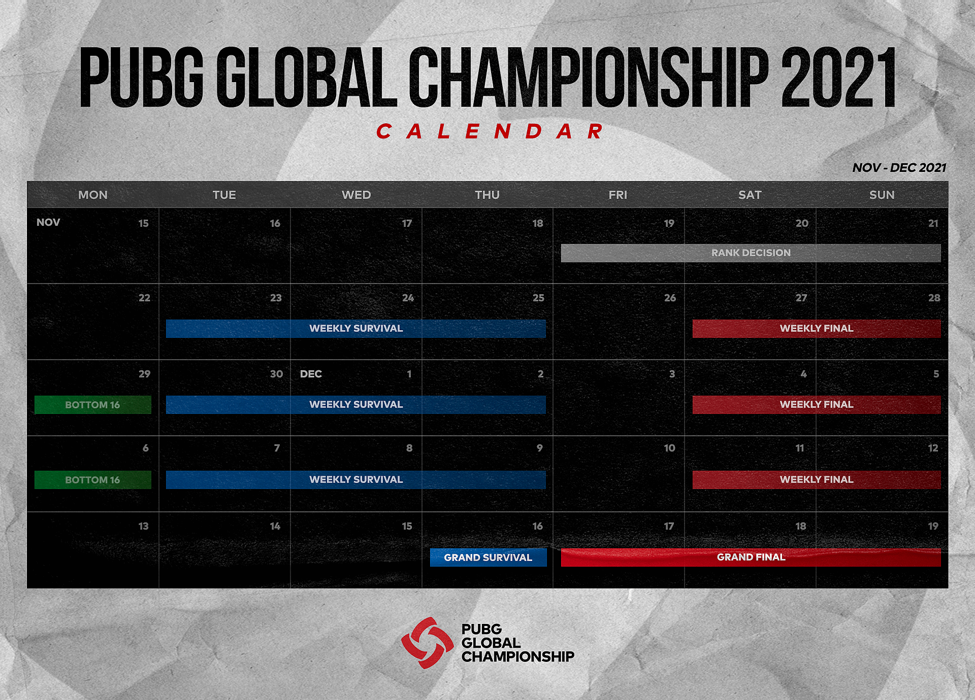 Calendário do PUBG Global Championship 2021